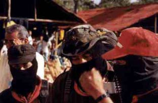 Three Zapatistas at the encounter
