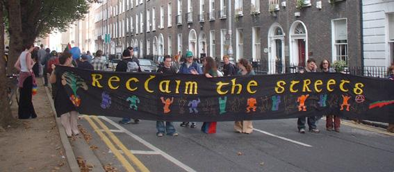 Reclaim the Streets banner in Dublin