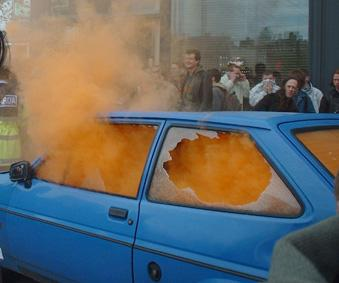 RTS car with smoke bomb