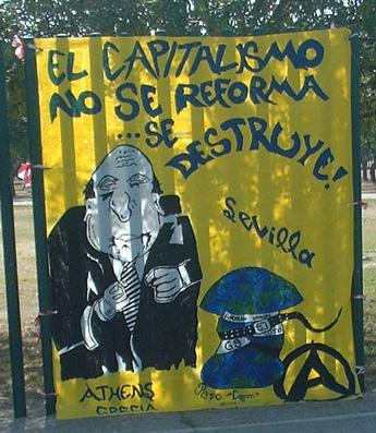 Greek anarchist banner at Seville