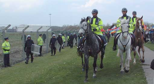 Riot and mounted gardai at Shannon airport