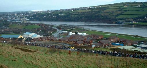 A view of Derry and the Foyle looking over the Brandywell towards the Waterside