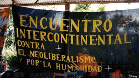 Banner at first encounter in Chiapas