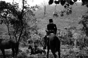 Marcos leaving Realidad on horseback